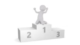 Figure on podium